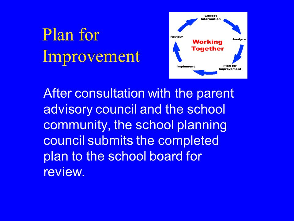 Plan for Improvement After consultation with the parent advisory council and the school community, the school planning council submits the completed plan to the school board for review.