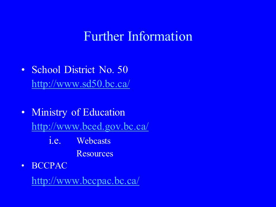 Further Information School District No.