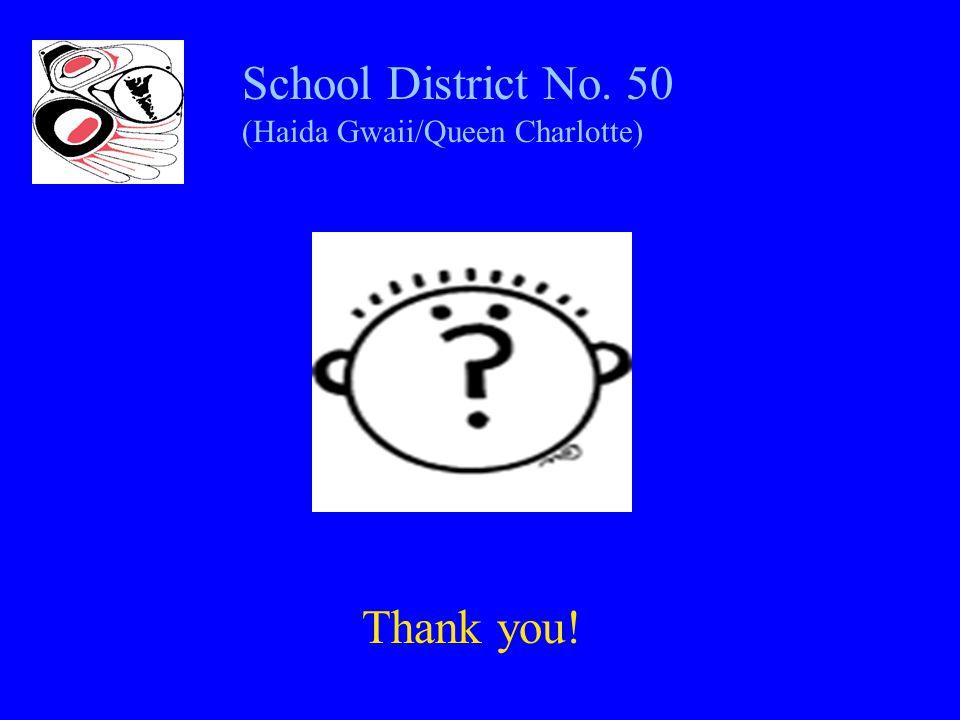 School District No. 50 (Haida Gwaii/Queen Charlotte) Thank you!