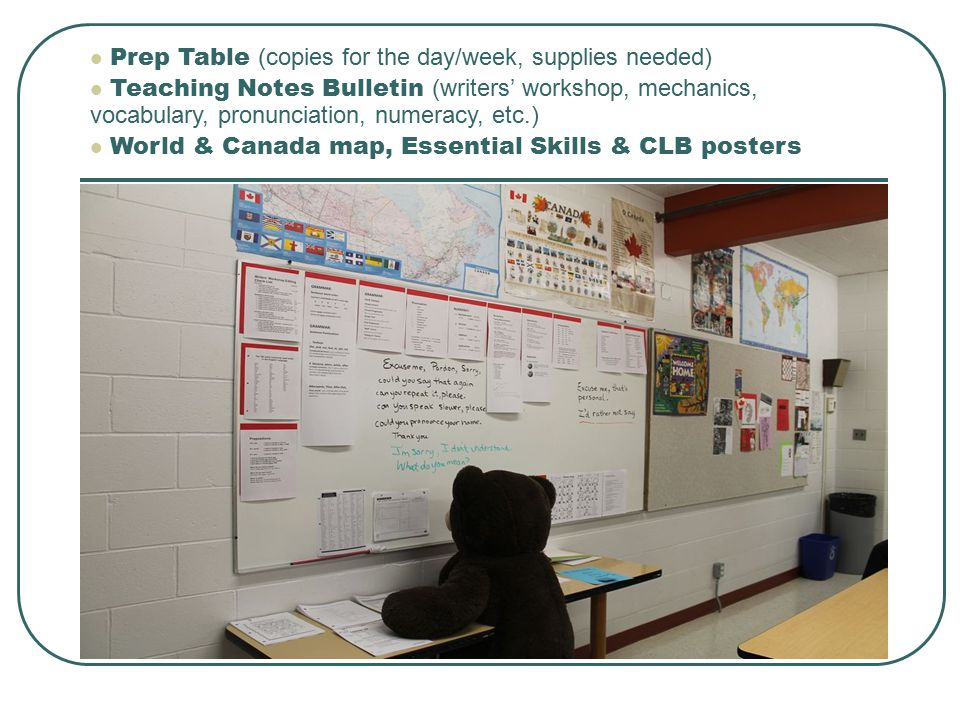 Prep Table (copies for the day/week, supplies needed) Teaching Notes Bulletin (writers' workshop, mechanics, vocabulary, pronunciation, numeracy, etc.) World & Canada map, Essential Skills & CLB posters