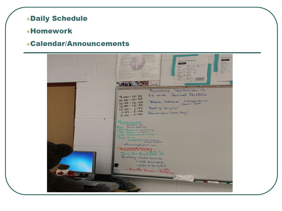 Daily Schedule Homework Calendar/Announcements