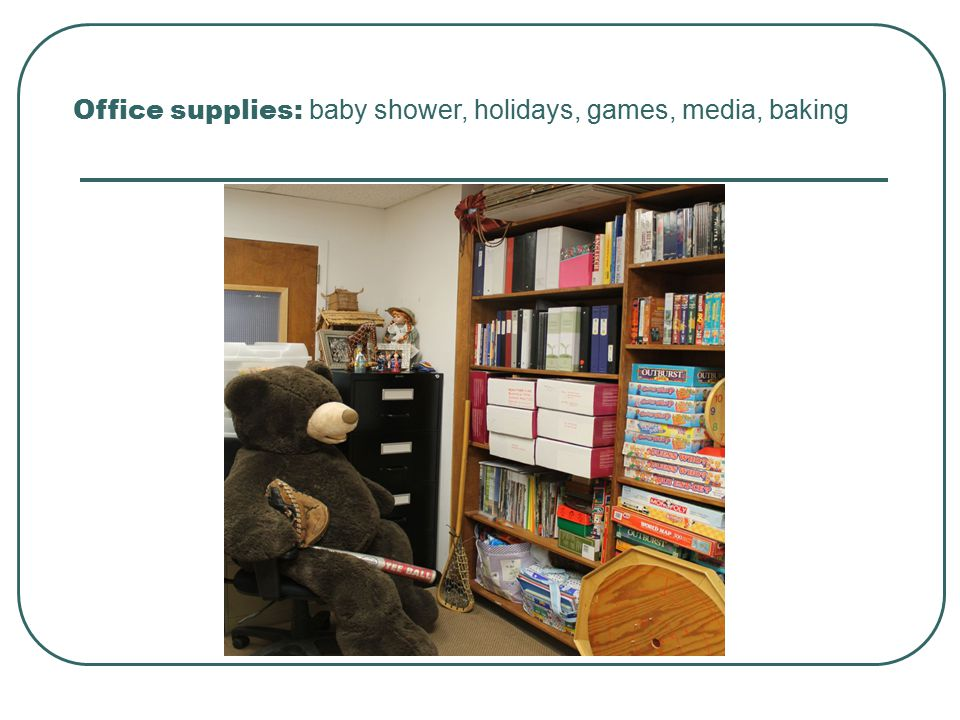 Office supplies: baby shower, holidays, games, media, baking