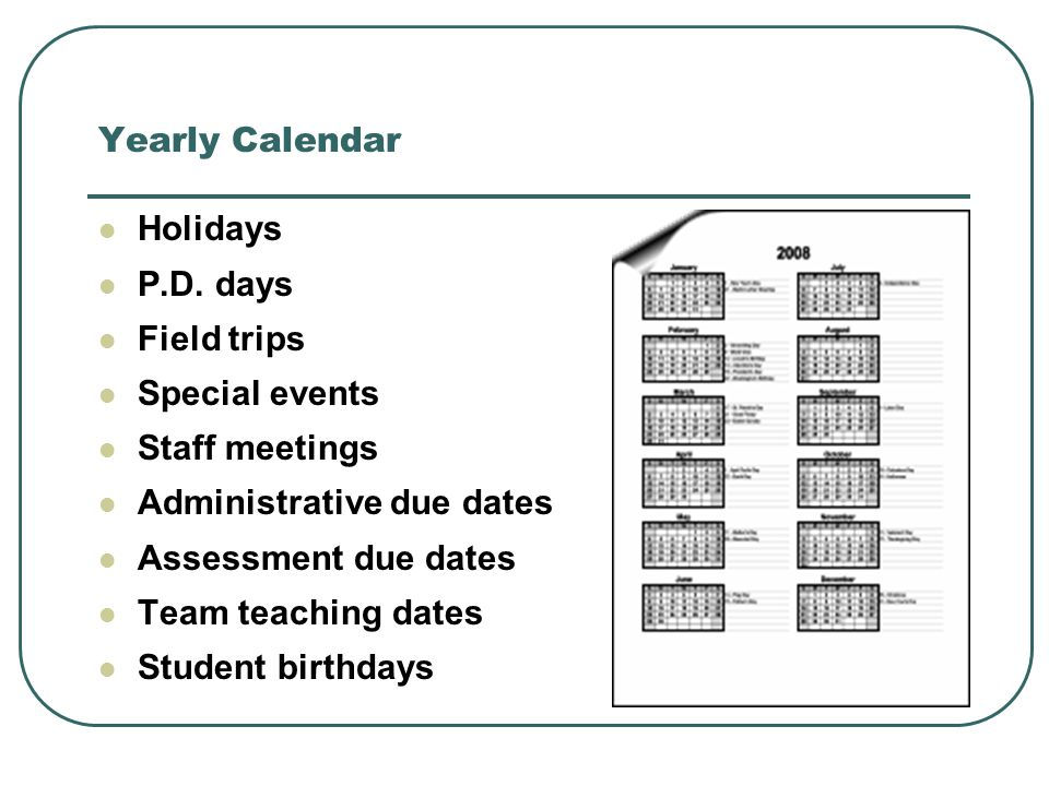 Yearly Calendar Holidays P.D.