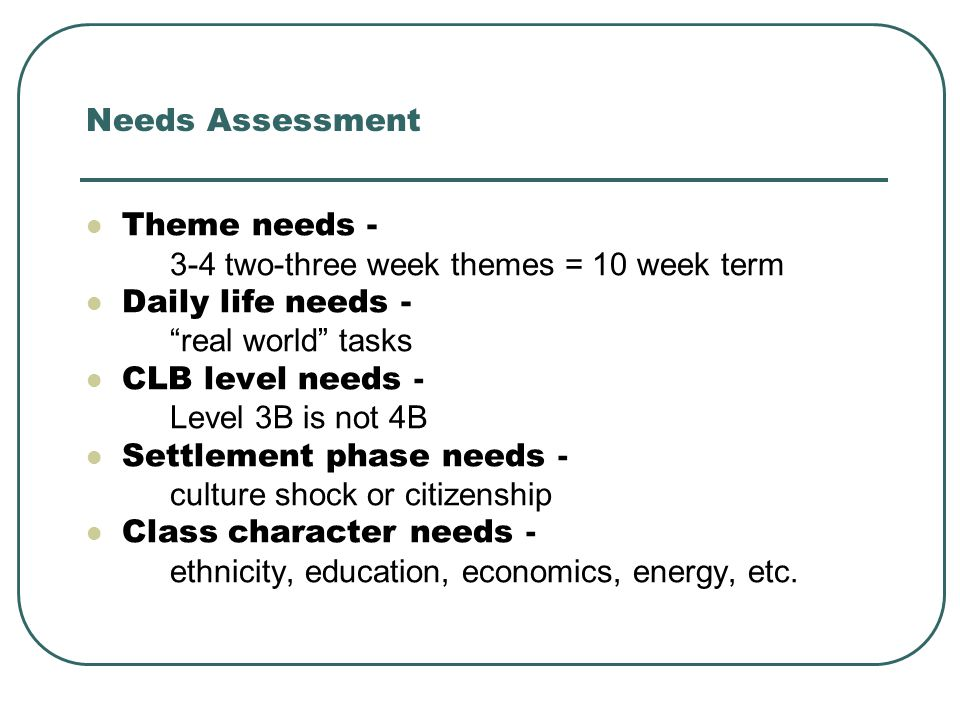 Needs Assessment Theme needs - 3-4 two-three week themes = 10 week term Daily life needs - real world tasks CLB level needs - Level 3B is not 4B Settlement phase needs - culture shock or citizenship Class character needs - ethnicity, education, economics, energy, etc.
