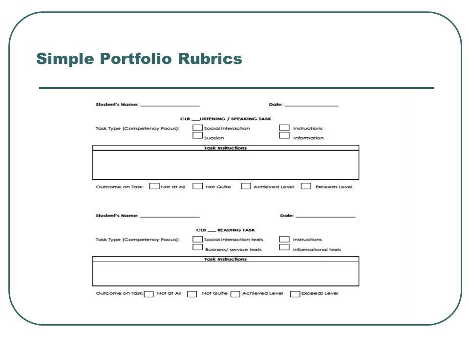 Simple Portfolio Rubrics