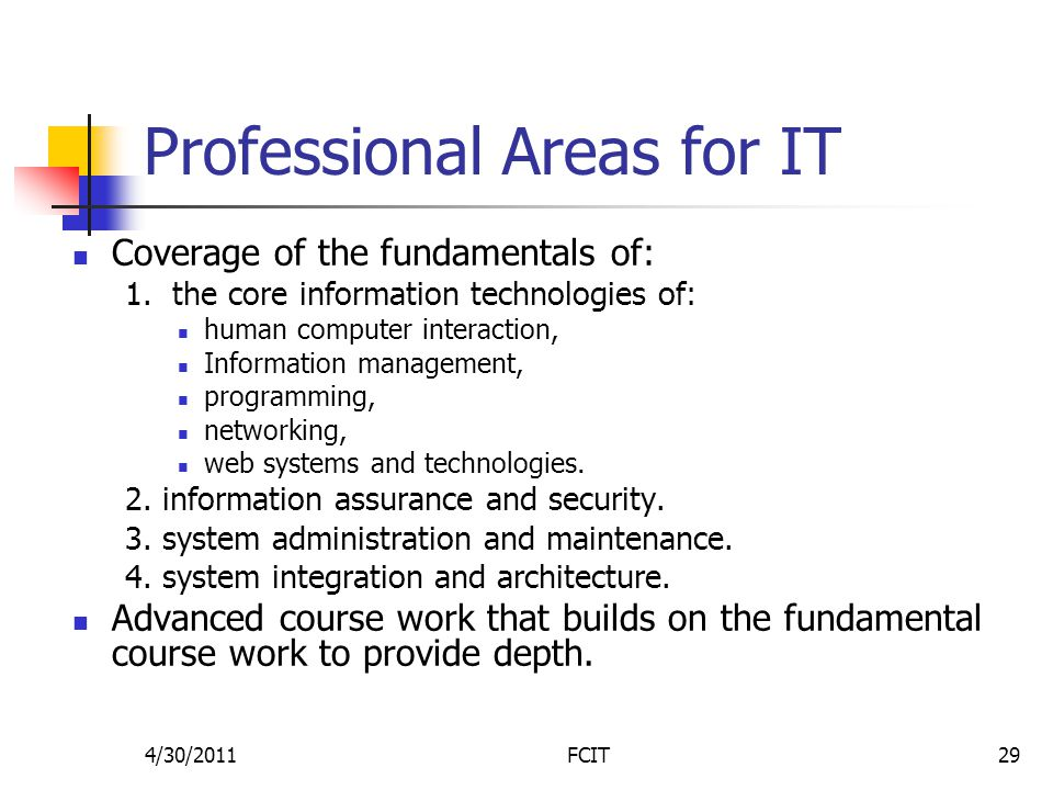 Professional Areas for IT Coverage of the fundamentals of: 1.