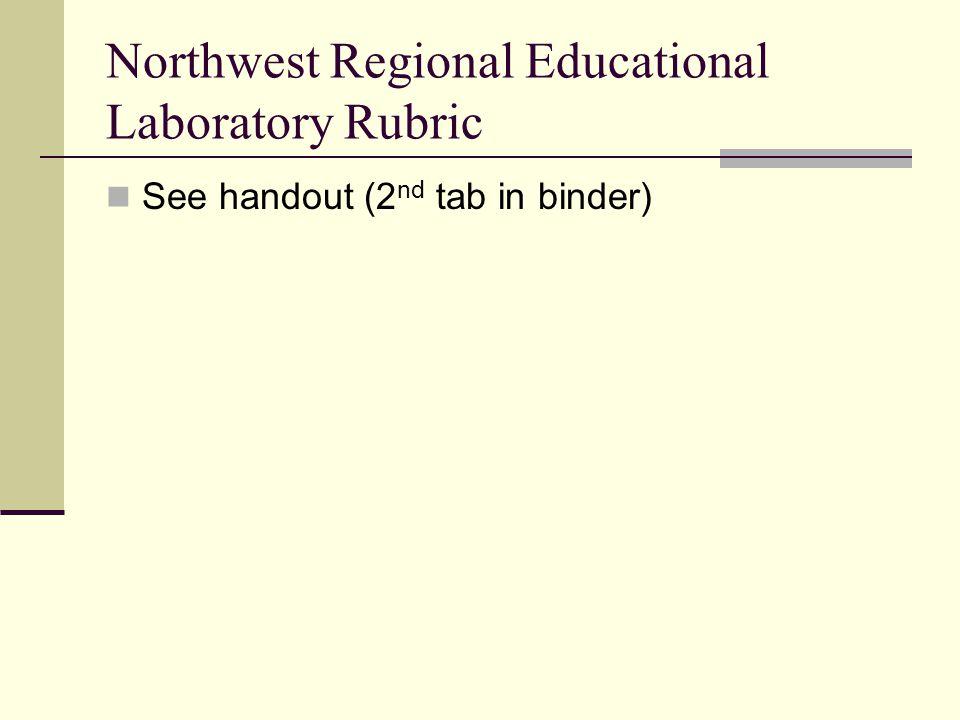 Northwest Regional Educational Laboratory Rubric See handout (2 nd tab in binder)