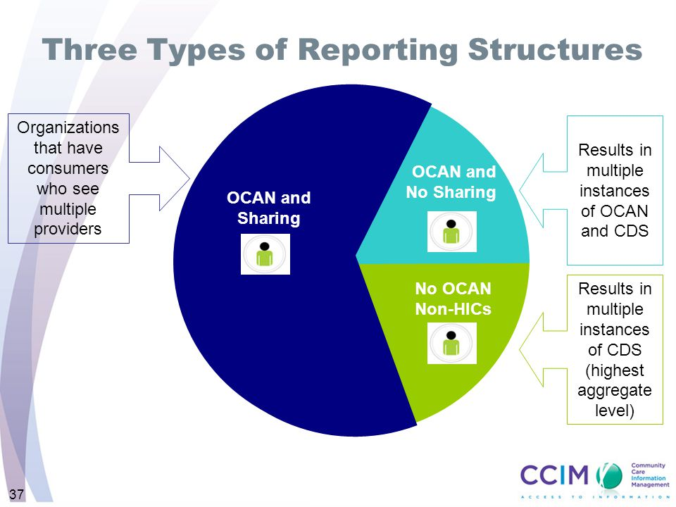 Three Types of Reporting Structures Organizations that have consumers who see multiple providers Results in multiple instances of OCAN and CDS Results