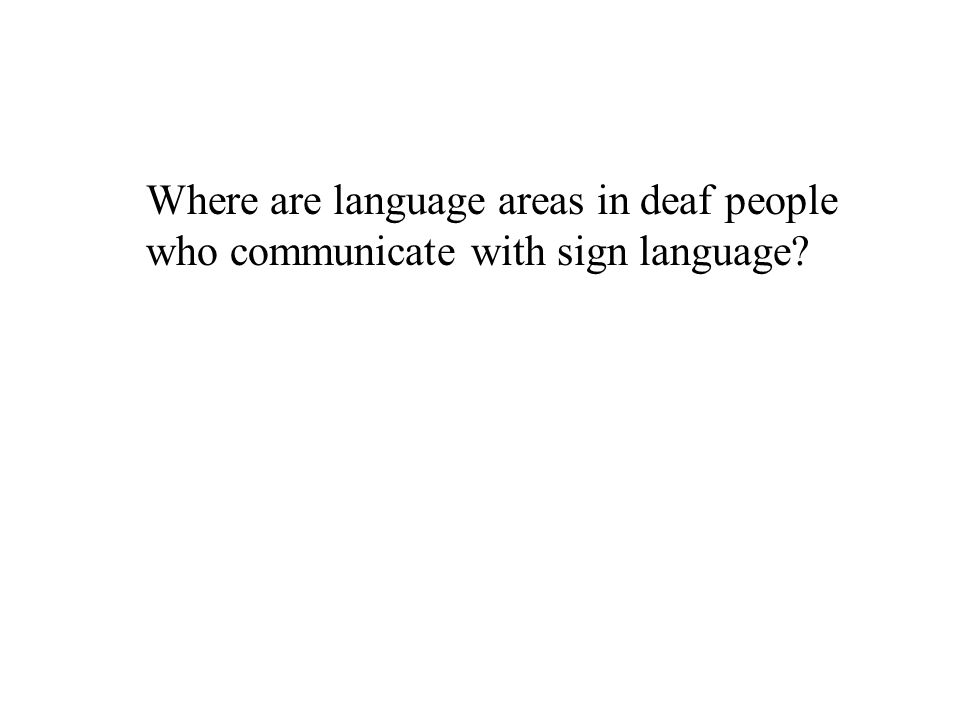 Where are language areas in deaf people who communicate with sign language
