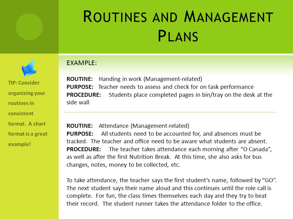 R OUTINES AND M ANAGEMENT P LANS TIP: Consider organizing your routines in consistent format.