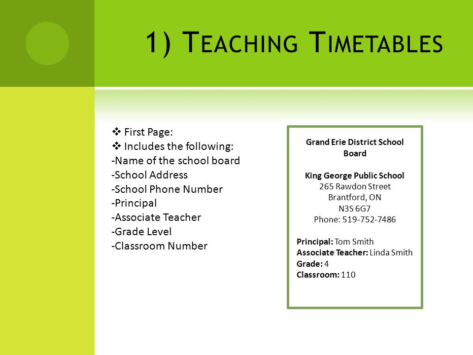 1) T EACHING T IMETABLES  First Page:  Includes the following: -Name of the school board -School Address -School Phone Number -Principal -Associate Teacher -Grade Level -Classroom Number Grand Erie District School Board King George Public School 265 Rawdon Street Brantford, ON N3S 6G7 Phone: 519-752-7486 Principal: Tom Smith Associate Teacher: Linda Smith Grade: 4 Classroom: 110