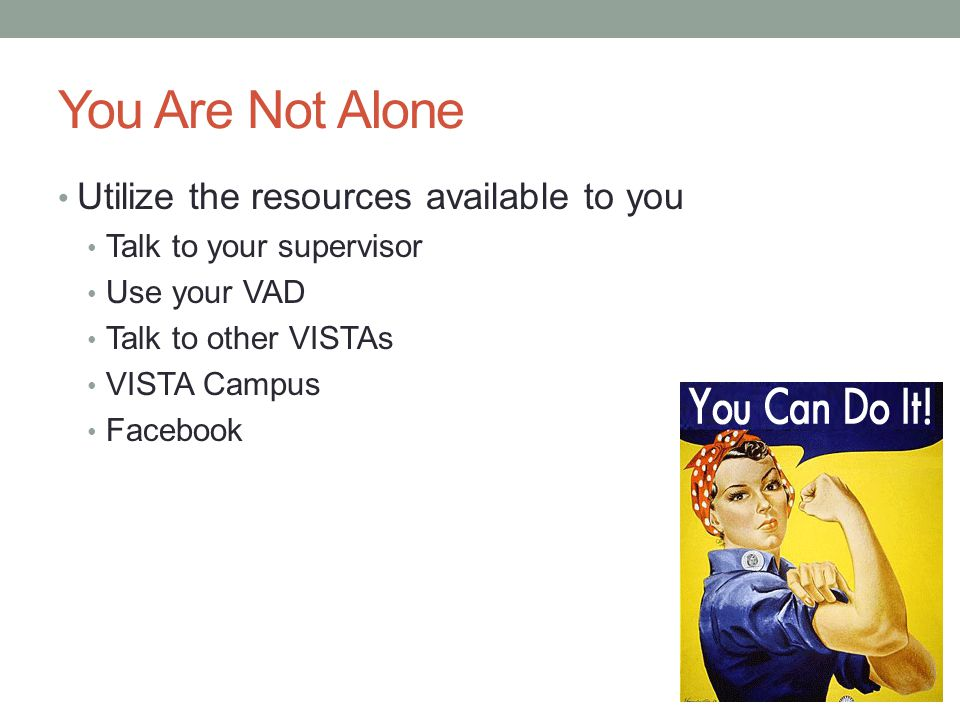 You Are Not Alone Utilize the resources available to you Talk to your supervisor Use your VAD Talk to other VISTAs VISTA Campus Facebook
