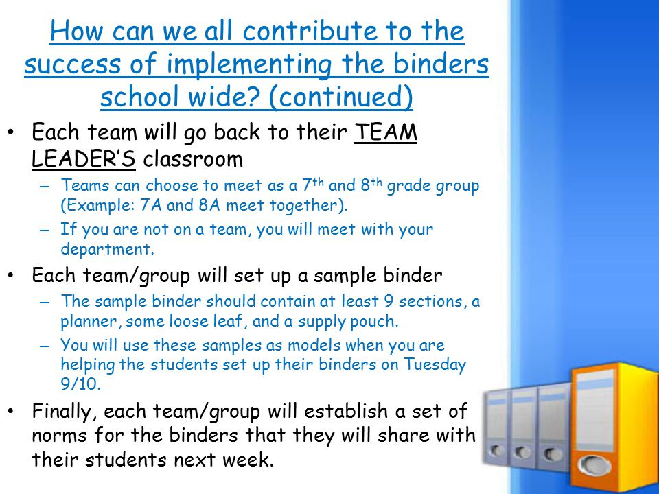 How can we all contribute to the success of implementing the binders school wide.