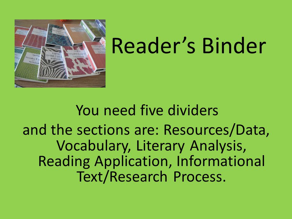 Reader's Binder You need five dividers and the sections are: Resources/Data, Vocabulary, Literary Analysis, Reading Application, Informational Text/Research Process.