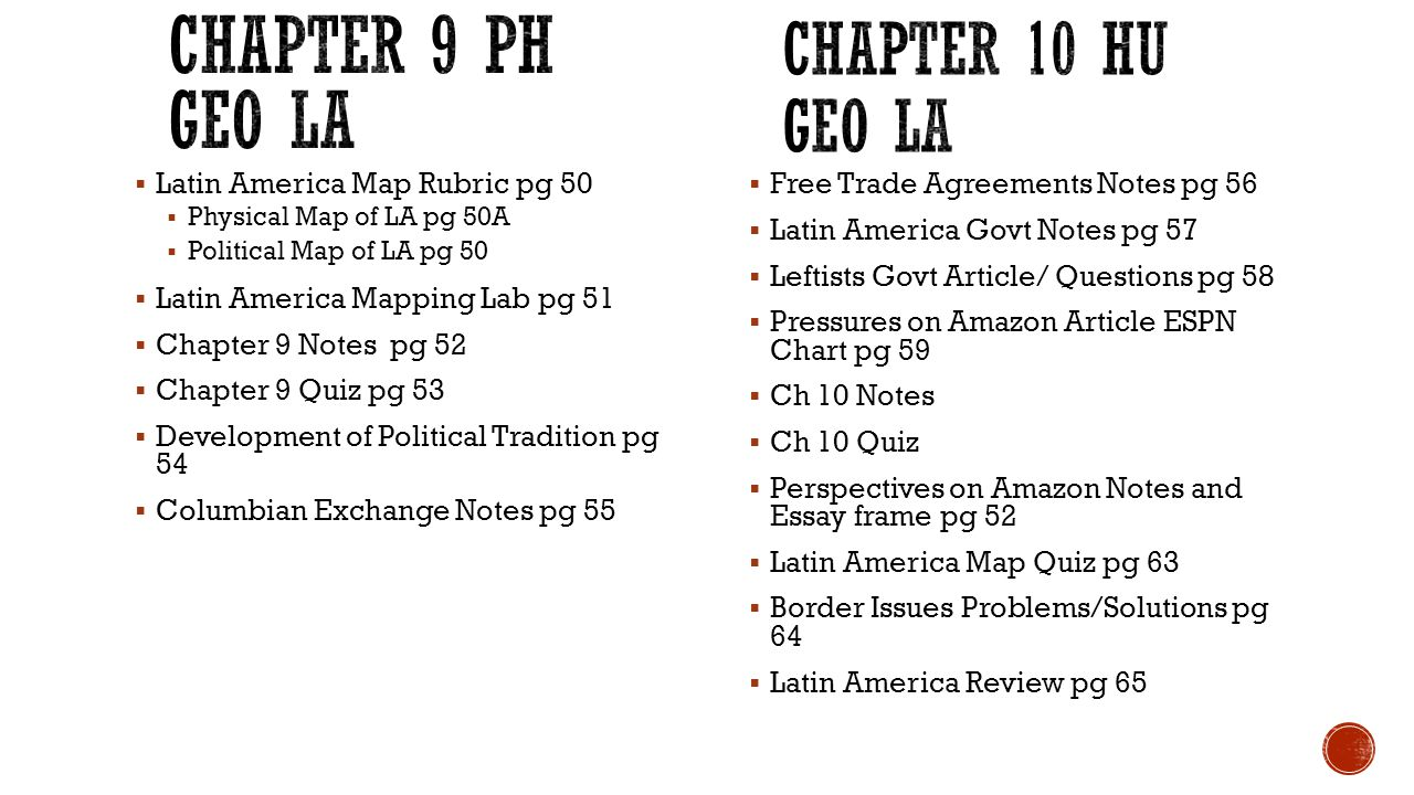  Latin America Map Rubric pg 50  Physical Map of LA pg 50A  Political Map of LA pg 50  Latin America Mapping Lab pg 51  Chapter 9 Notes pg 52  Chapter 9 Quiz pg 53  Development of Political Tradition pg 54  Columbian Exchange Notes pg 55  Free Trade Agreements Notes pg 56  Latin America Govt Notes pg 57  Leftists Govt Article/ Questions pg 58  Pressures on Amazon Article ESPN Chart pg 59  Ch 10 Notes  Ch 10 Quiz  Perspectives on Amazon Notes and Essay frame pg 52  Latin America Map Quiz pg 63  Border Issues Problems/Solutions pg 64  Latin America Review pg 65