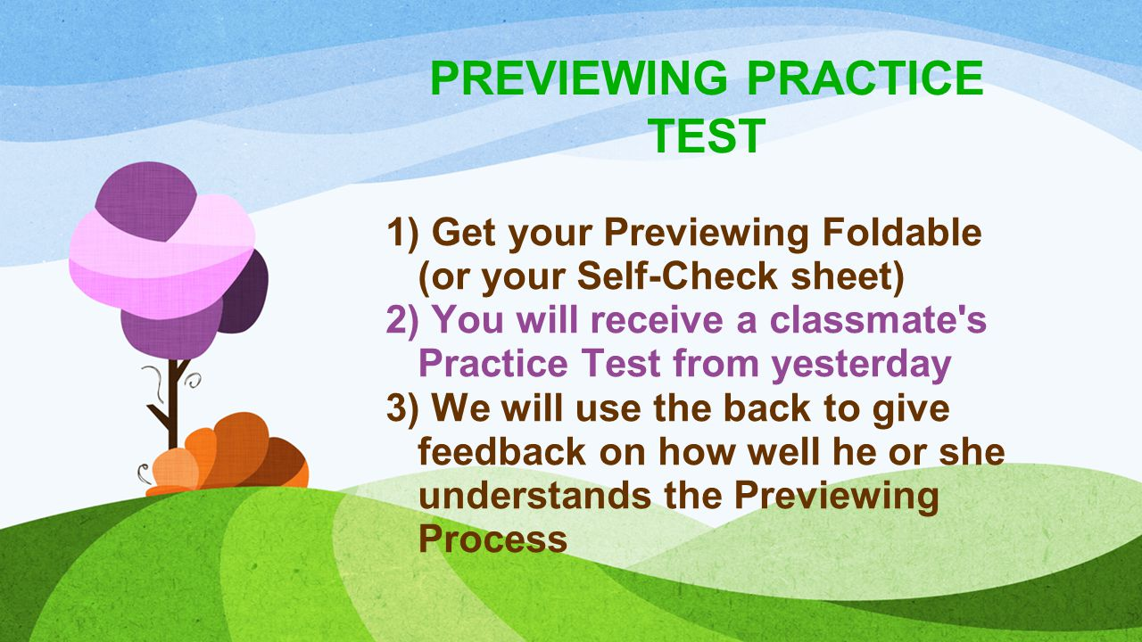 PREVIEWING PRACTICE TEST When I say go, we are going to stand up & hand the practice test back to the test-taker.