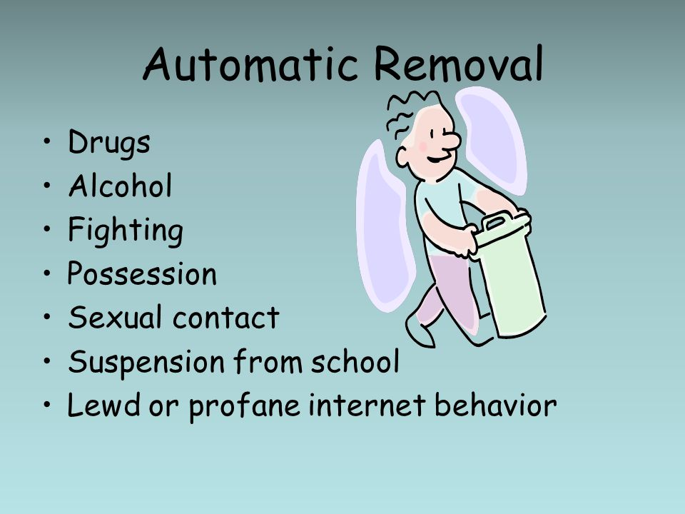 Automatic Removal Drugs Alcohol Fighting Possession Sexual contact Suspension from school Lewd or profane internet behavior