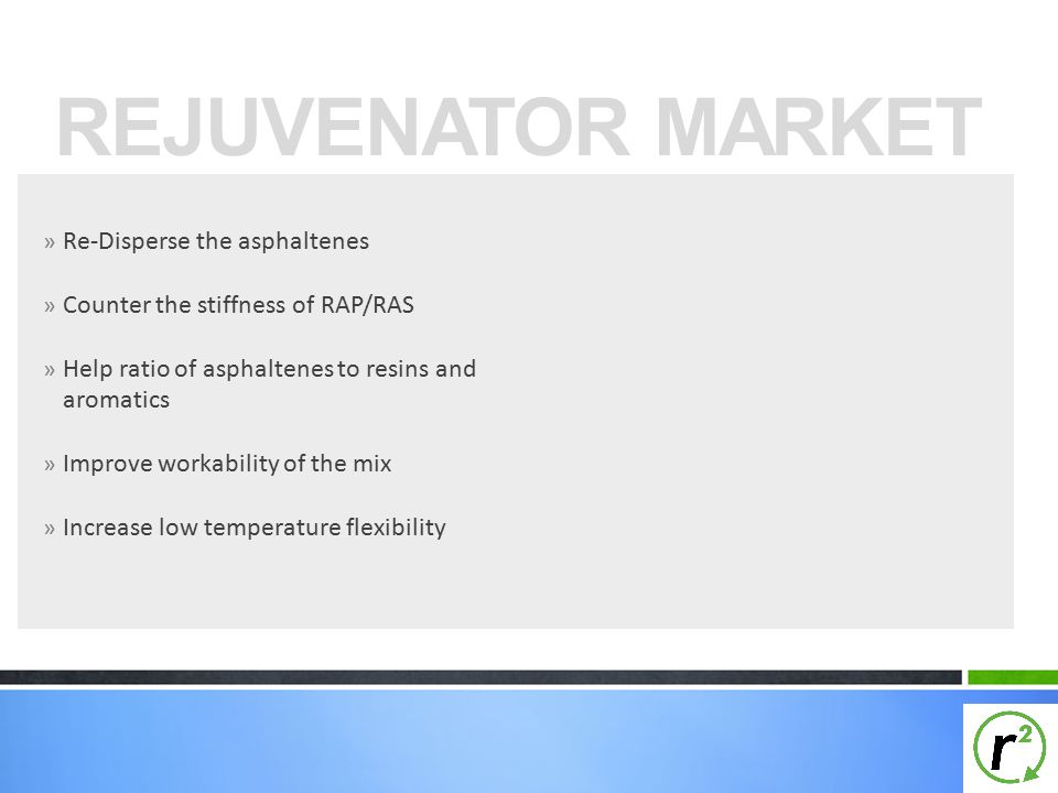» Re-Disperse the asphaltenes » Counter the stiffness of RAP/RAS » Help ratio of asphaltenes to resins and aromatics » Improve workability of the mix » Increase low temperature flexibility REJUVENATOR MARKET