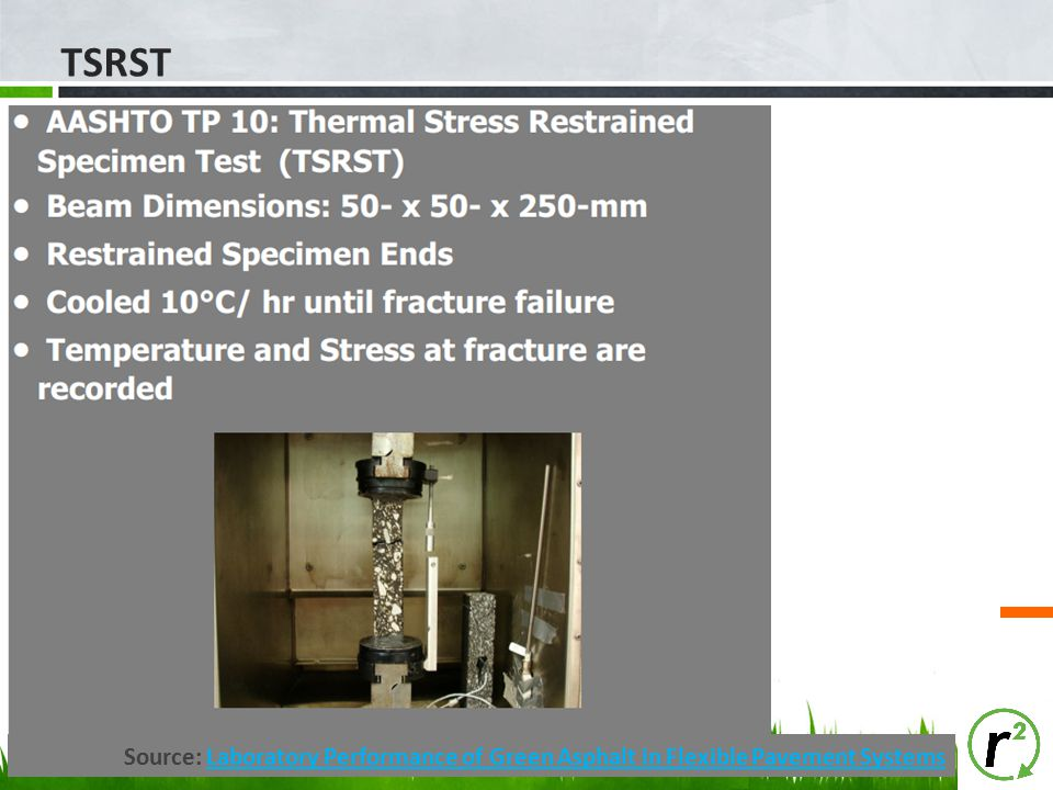 TSRST Source: Laboratory Performance of Green Asphalt in Flexible Pavement SystemsLaboratory Performance of Green Asphalt in Flexible Pavement Systems
