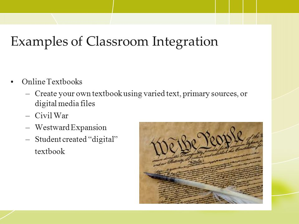Examples of Classroom Integration Personal/Professional –My LiveBinder –Mrs.