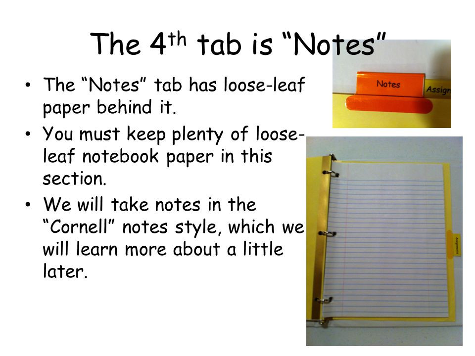 The 5 th tab is Assignments The Assignments tab is the last tab in your Science Binder.