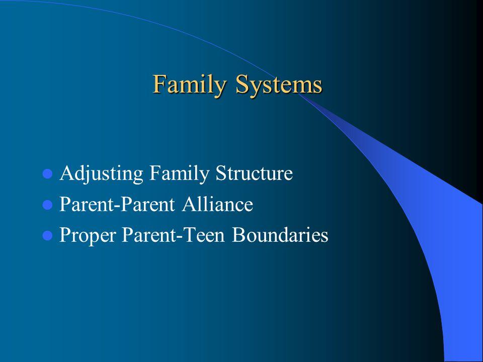Family Systems Adjusting Family Structure Parent-Parent Alliance Proper Parent-Teen Boundaries