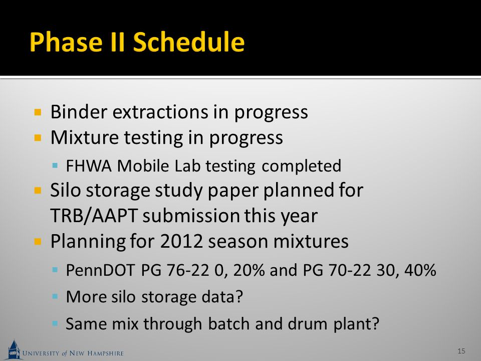  Binder extractions in progress  Mixture testing in progress  FHWA Mobile Lab testing completed  Silo storage study paper planned for TRB/AAPT sub