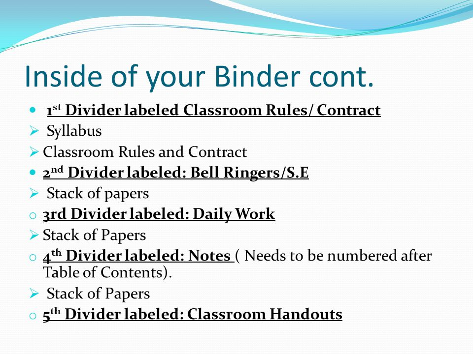 Inside of your Binder cont. 1 st Divider labeled Classroom Rules/ Contract  Syllabus  Classroom Rules and Contract 2 nd Divider labeled: Bell Ringer