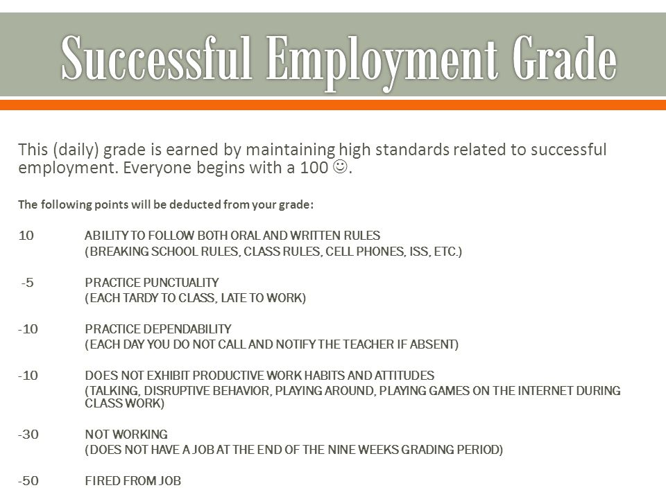 This (daily) grade is earned by maintaining high standards related to successful employment.