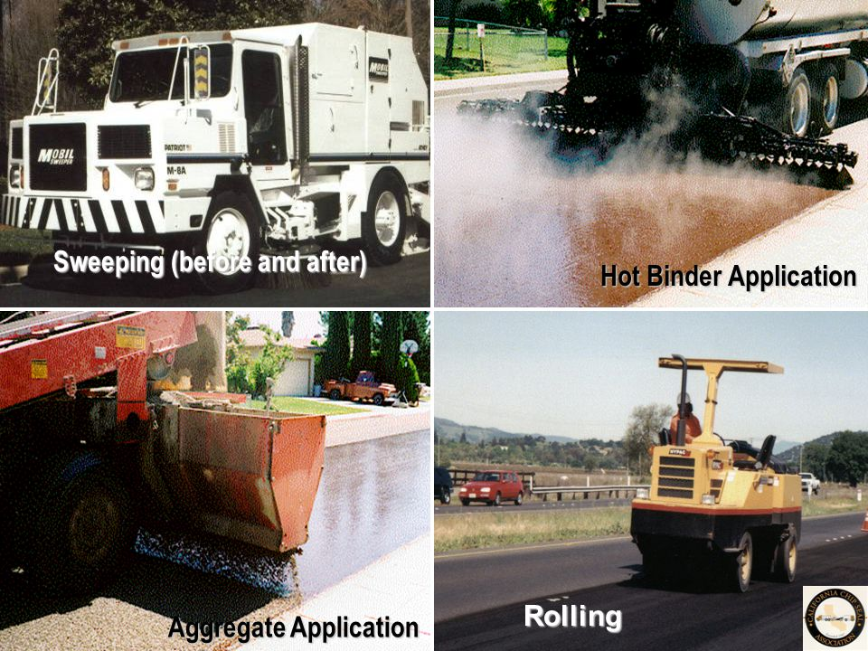 Sweeping (before and after) Hot Binder Application Aggregate Application Rolling