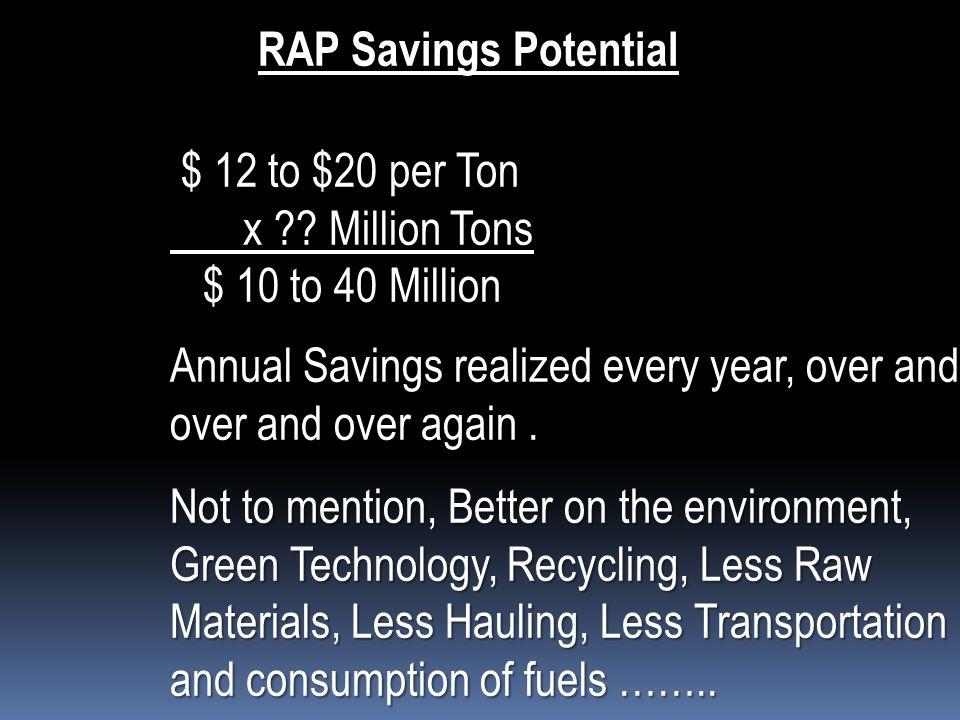 RAP Savings Potential $ 12 to $20 per Ton $ 12 to $20 per Ton x .