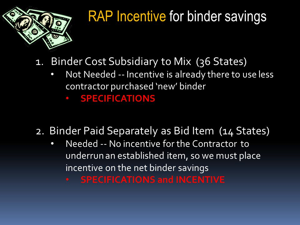 1. Binder Cost Subsidiary to Mix (36 States) Not Needed -- Incentive is already there to use less contractor purchased 'new' binder SPECIFICATIONS 2.