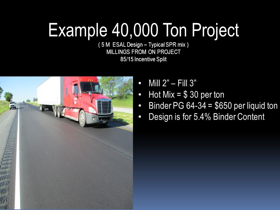 Example 40,000 Ton Project ( 5 M ESAL Design – Typical SPR mix ) MILLINGS FROM ON PROJECT 85/15 Incentive Split Mill 2 – Fill 3 Mill 2 – Fill 3 Hot Mix = $ 30 per ton Hot Mix = $ 30 per ton Binder PG 64-34 = $650 per liquid ton Binder PG 64-34 = $650 per liquid ton Design is for 5.4% Binder Content Design is for 5.4% Binder Content