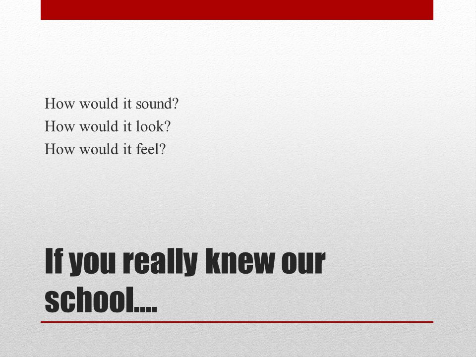 If you really knew our school…. How would it sound? How would it look? How would it feel?