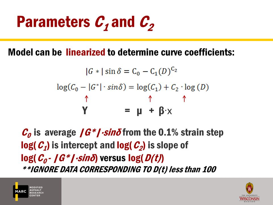 Parameters C 1 and C 2 Model can be linearized to determine curve coefficients: Y = µ + β · x C 0 is average |G*|·sinδ from the 0.1% strain step log(C