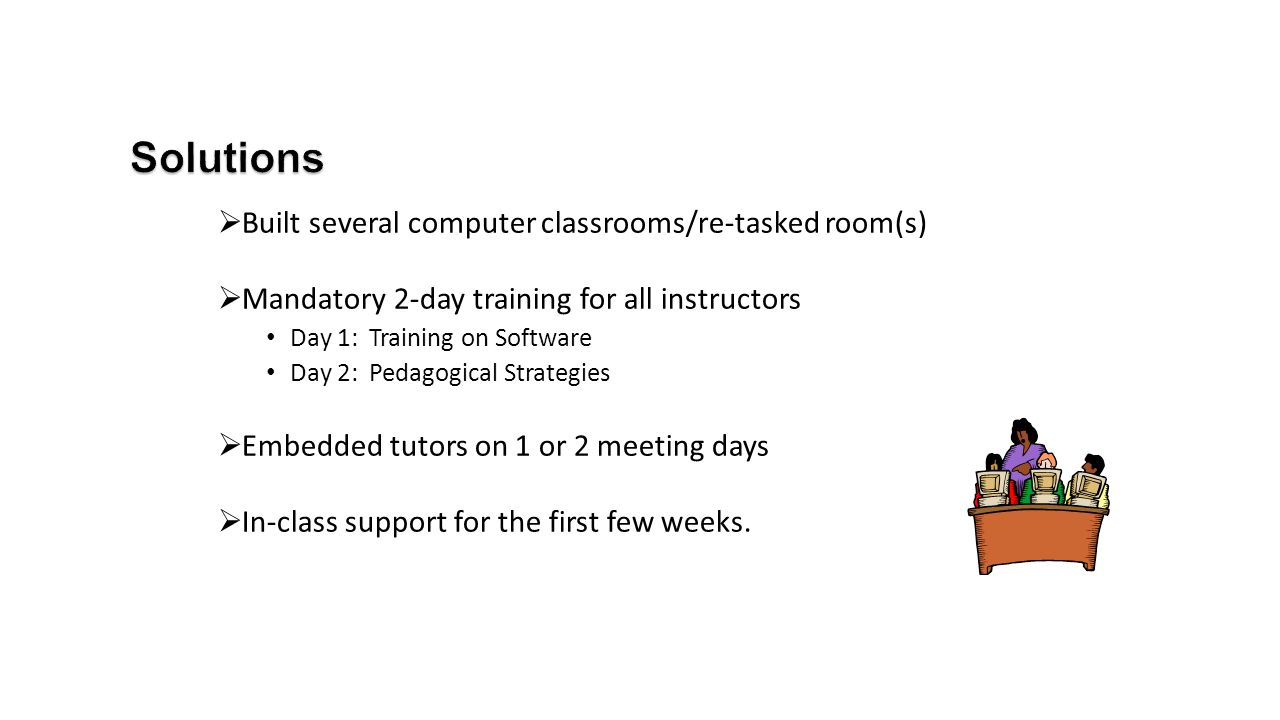  Built several computer classrooms/re-tasked room(s)  Mandatory 2-day training for all instructors Day 1: Training on Software Day 2: Pedagogical St