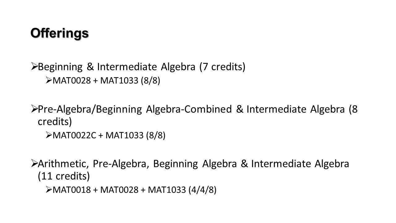 Offerings  Beginning & Intermediate Algebra (7 credits)  MAT0028 + MAT1033 (8/8)  Pre-Algebra/Beginning Algebra-Combined & Intermediate Algebra (8