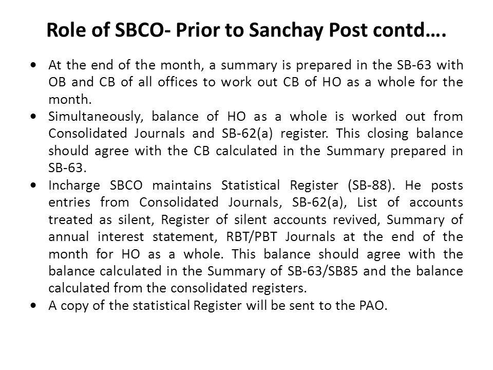 Role of SBCO- Prior to Sanchay Post contd….