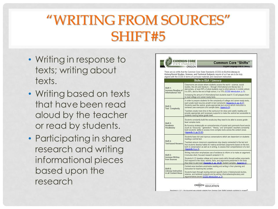 WRITING FROM SOURCES SHIFT#5 Writing in response to texts; writing about texts.