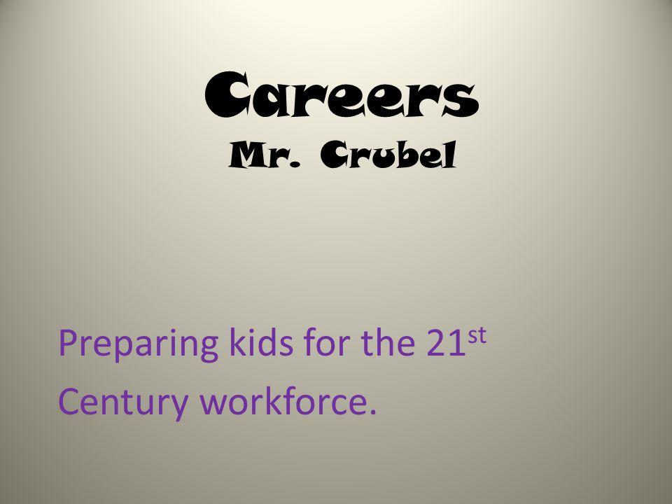 Careers Mr. Crubel Preparing kids for the 21 st Century workforce.