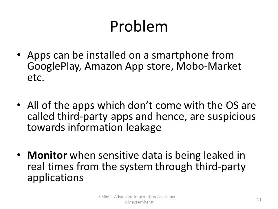 Problem Apps can be installed on a smartphone from GooglePlay, Amazon App store, Mobo-Market etc.