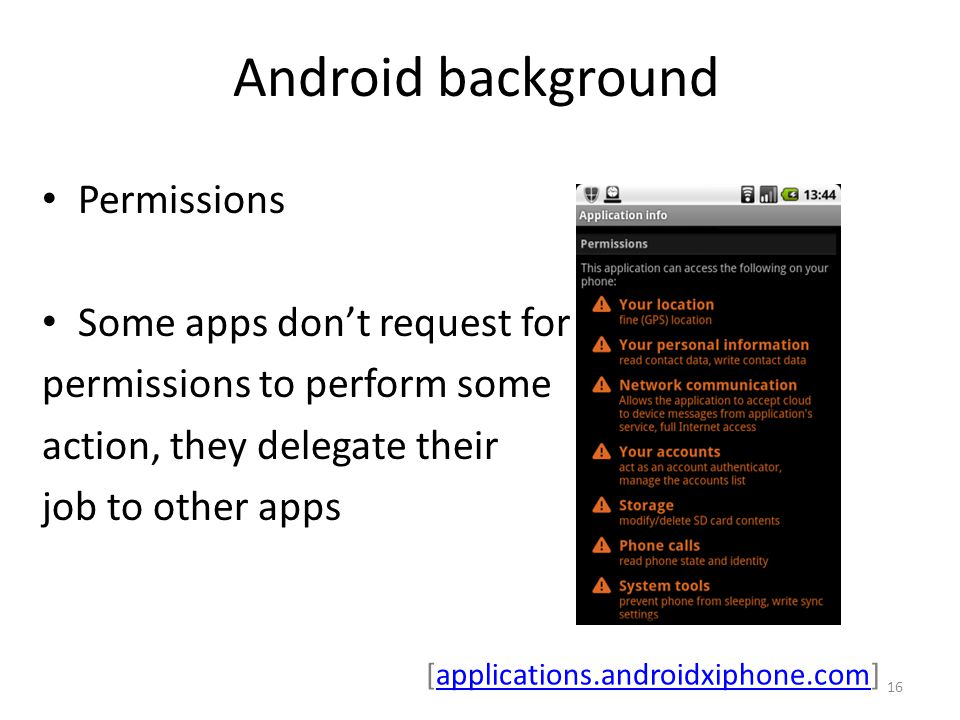Android background Permissions Some apps don't request for permissions to perform some action, they delegate their job to other apps 16 [applications.androidxiphone.com]applications.androidxiphone.com