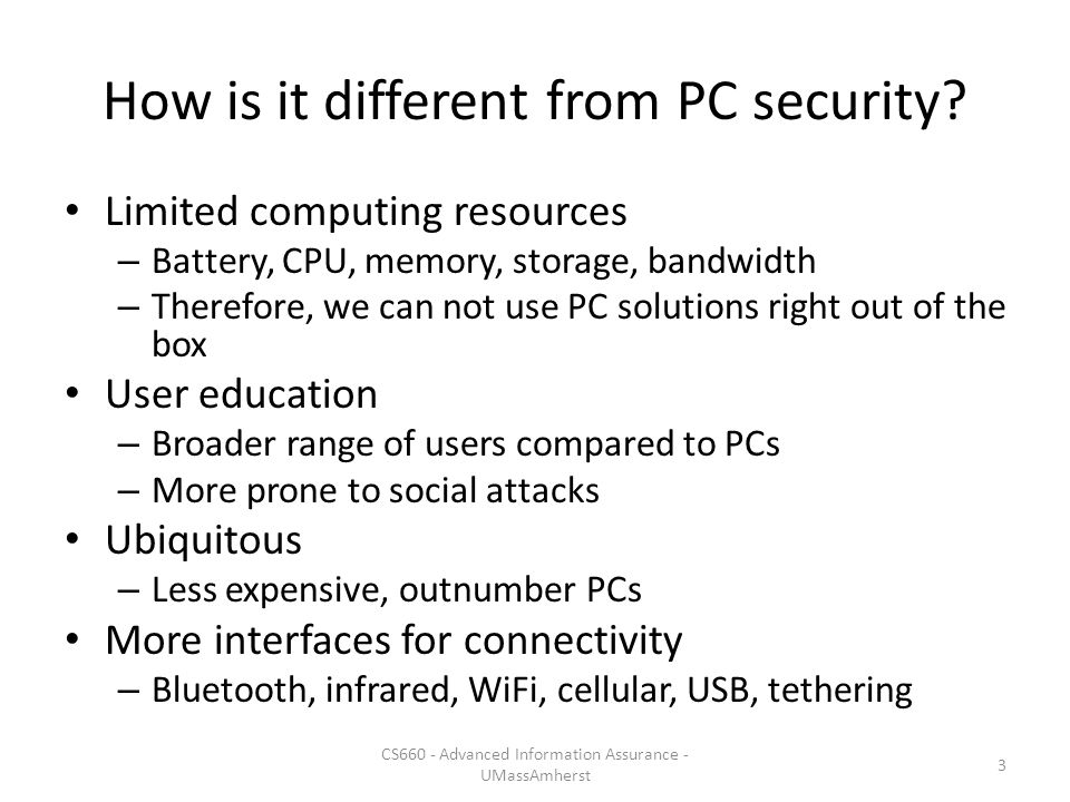 How is it different from PC security.