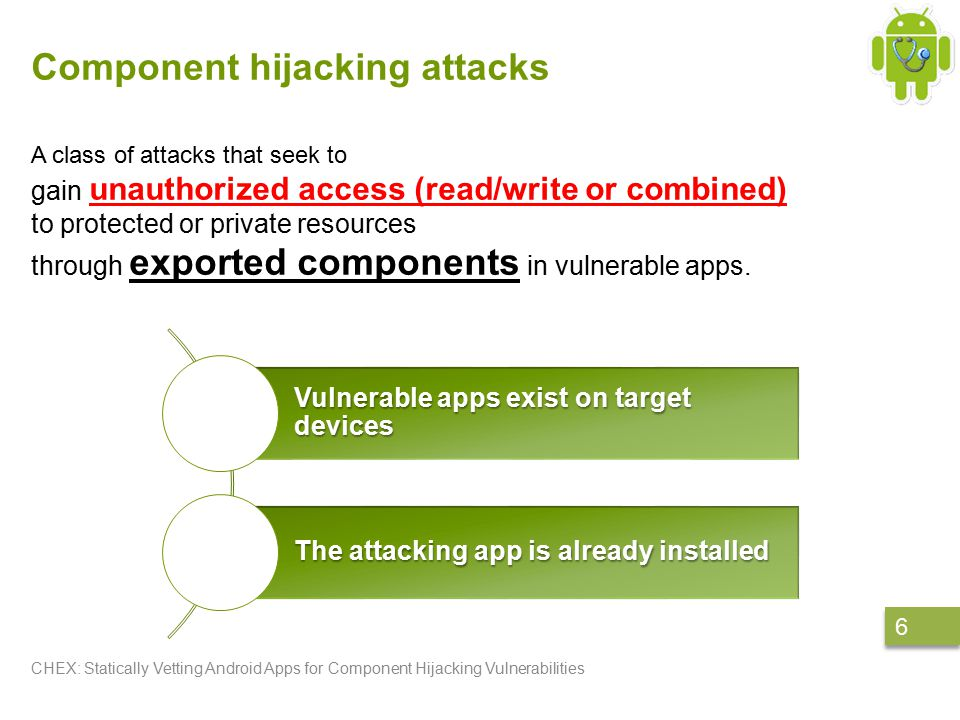 Example CHEX: Statically Vetting Android Apps for Component Hijacking Vulnerabilities 27