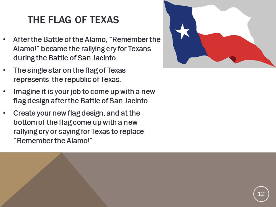 """THE FLAG OF TEXAS After the Battle of the Alamo, """"Remember the Alamo!"""" became the rallying cry for Texans during the Battle of San Jacinto. The single"""
