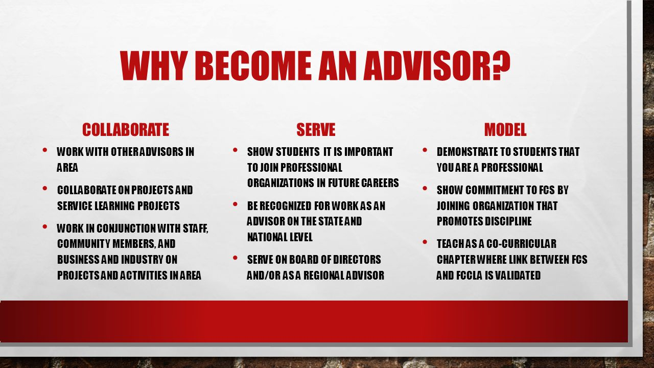 WHY BECOME AN ADVISOR? COLLABORATE WORK WITH OTHER ADVISORS IN AREA COLLABORATE ON PROJECTS AND SERVICE LEARNING PROJECTS WORK IN CONJUNCTION WITH STA