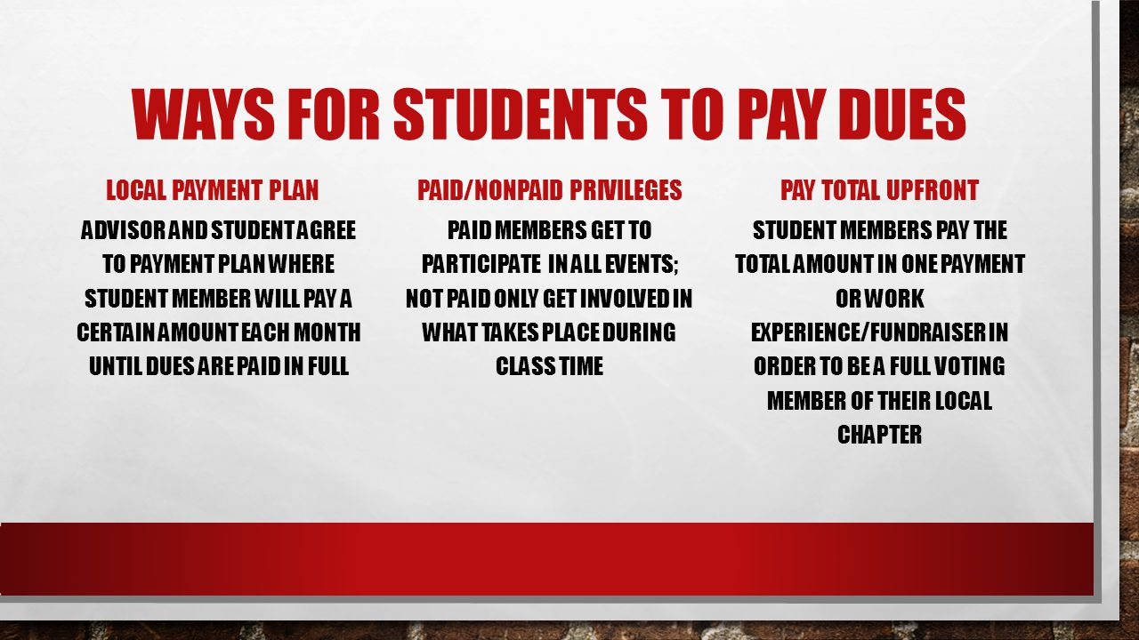 WAYS FOR STUDENTS TO PAY DUES LOCAL PAYMENT PLAN ADVISOR AND STUDENT AGREE TO PAYMENT PLAN WHERE STUDENT MEMBER WILL PAY A CERTAIN AMOUNT EACH MONTH U