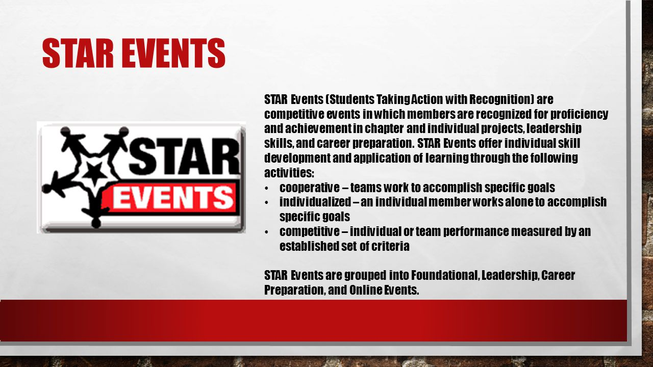 STAR EVENTS STAR Events (Students Taking Action with Recognition) are competitive events in which members are recognized for proficiency and achieveme
