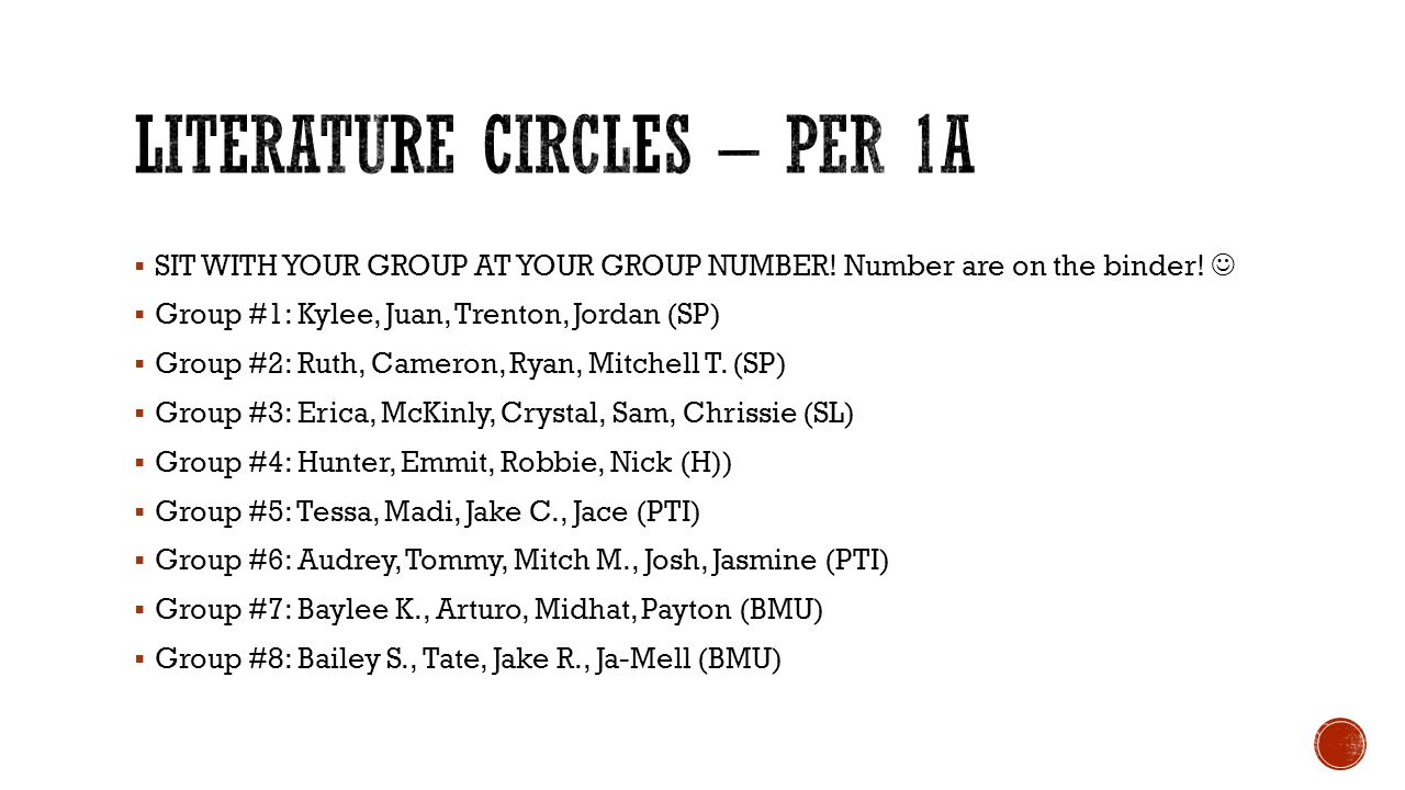  SIT WITH YOUR GROUP AT YOUR GROUP NUMBER. Number are on the binder.