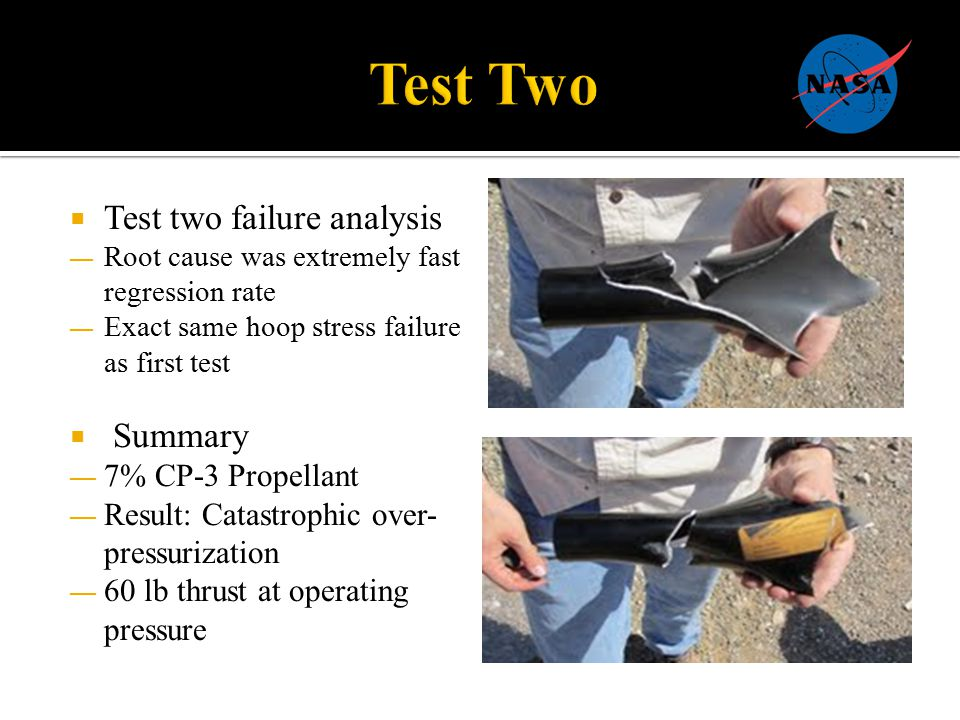  Test two failure analysis — Root cause was extremely fast regression rate — Exact same hoop stress failure as first test  Summary — 7% CP-3 Propellant — Result: Catastrophic over- pressurization — 60 lb thrust at operating pressure